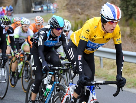 Sky's Bradley Wiggins retained the yellow jersey as none of his competitors challenged on this mostly flat stage. (Pascal Pavani/AFP/Getty Images)