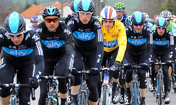 Protected by his Sky teammates, Bradley Wiggins rides in Stage Three of the 2012 Paris-Nice cycling race. (Pascal Pavani/AFP/Getty Images)