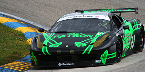 Guy Cosmo in the #03 Extreme Speed Motorsport Ferrari 458 led the GT class. (Chris Jasurek/The Epoch Times)