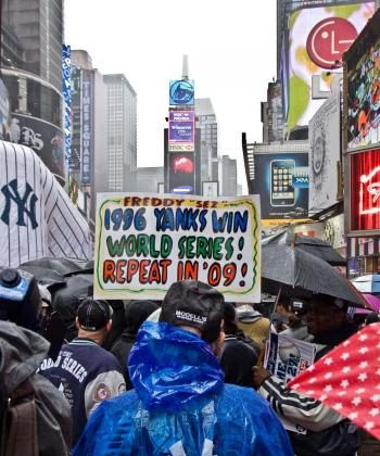 Nailah Harris, a Yankee fan since childhood, joined a pep rally in support of her team at Times Square on Wednesday. (The Epoch Times)