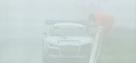 Almost lost in the fog is the spectral shape of the expired #2 Audi. (bathurst12hour.com.au)