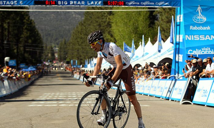 Sylvain Georges of Ag2R nearly collapses after crossing the finish line to win Stage Six of the Tour of California. The French rider made an incredible effort to lead the race for 184.5 km and solo the final fifty km fast enough that the peloton couldn't catch him. (Ezra Shaw/Getty Images)