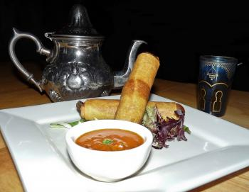 Sweet and refreshing tea along with fiery harissa and Moroccan Cigars. (Nadia Ghattas/The Epoch Times)