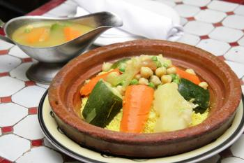 Moroccan vegetable couscous with stewed mixed vegetables and broth. (Talia Simhi)
