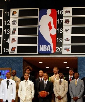 Players pose prior to the 2008 NBA Draft at the WaMu Theatre at Madison Square Garden June 26, 2008 in New York City. (Nick Laham/Getty Images)