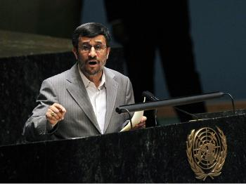 Iranian President Mahmoud Ahmadinejad speaks at the United Nations 2010 High-level Review Conference of the Parties to the Treaty on the Non-Proliferation of Nuclear Weapons at U.N. headquarters May 3, 2010. (Mario Tama/Getty Images)