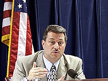 TALKING VOTING: State Sen. Joseph Addabbo at a hearing on Wednesday to discuss problems with new voting equipment and processes implemented on primary election day. (Courtesy Sen. Addabbo)