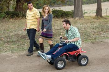 (L-R) Adam Sandler, Leslie Mann, and Seth Rogen in writer/director Judd Apatow's 'Funny People,' the story of a famous comedian who has a near-death experience. (Tracy Bennett/ Universal Pictures)
