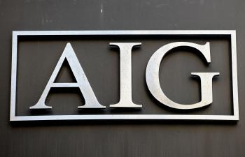 Logo of troubled insurer American International Group Inc. September 17, 2008 outside their office in the lower Manhattan area of New York. (Stan Honda/AFP/Getty Images)