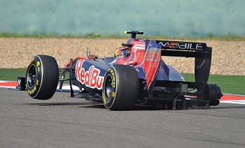 Toro Rosso-Ferrari driver Jaime Alguersuari lost a wheel early in the race, sidelining him. (Philippe Lopez/AFP/Getty Images)