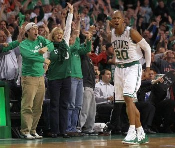 CLUTCH SHOT: Ray Allen receives a standing ovation after hitting his game-winning 3-pointer against the New York Knicks on Sunday. (Elsa/Getty Images)