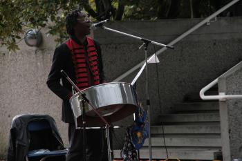 Jahrad Powell-Clarke plays the steelpan, an instrument originally from Trinidad and made from recycled oil drums.  (Andrea Hayley/The Epoch Times)