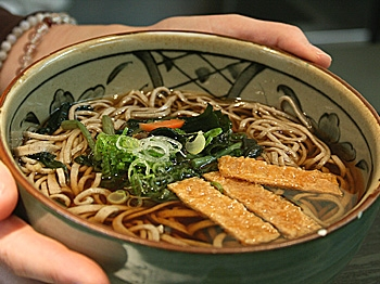 A bowl of Soba noodle soup is displayed at Katagiri on 59th and 2nd in Manhattan. (Genvieve Long/The Epoch Times)