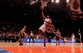 Madison Square Garden was closed Tuesday night amid asbestos concerns. Amar'e Stoudemire #1 of the New York Knicks lays the ball up over Marcus Camby #23 of the Portland Trail Blazers at Madison Square Garden on October 30, 2010 in New York City. (Nick Laham/Getty Images)