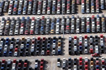 Numerous 2009 Ford F-150 trucks are parked in a lot before being shipped on November 21, 2008 in Detroit, Michigan. (Spencer Platt/Getty Images)