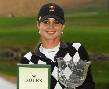Beatriz Recari of Spain poses with the champion's trophy and the Rolex first-time winner's award following her victory at the CVS/Pharmacy LPGA Challenge at Blackhawk Country Club on October 17, 2010 in Danville, California.   (Darren Carroll/Getty Images)