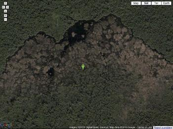 Google maps satellite view of the world's biggest beaver dam discovered to date, thirty years in the making, in Wood Buffalo National Park, Alberta, Canada. (Screenshot from maps.google.com)