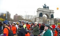 Bikers Parade Down Prospect Park West Lane in Brooklyn