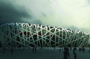 The Beijing Olympics' super expensive stadium, the 'Bird Nest.' (AFP/Getty Images)