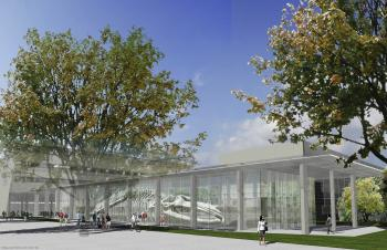 An architectural rendering of the atrium of UBC's new Beaty Biodiversity Museum where the skeleton of the blue whale will be on display. (Patkau Architects and Derek Tan)