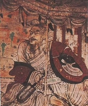 Visit of the Bodhisattva Manjusri to Vimalakirti—A Dunhuang iconic mural. (Courtesy of Tony Dai)