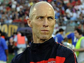 U.S. head coach Bob Bradley watches from the sidelines as his team plays the Czech Republic in a warm-up game for the FIFA World Cup on May 25 at Rentschler Field in East Hartford, Connecticut. The Czech Republic defeated the US 4-2. (Timothy A. Clary/AFP/Getty Images)