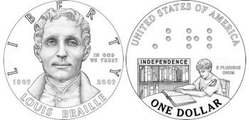 The commemorative Braille silver coin will be the first U.S. coin to contain readable braille characters. The dots in the coin design spell