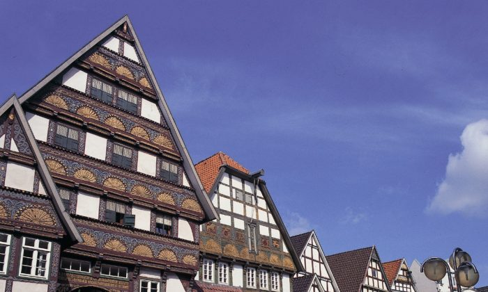 """Carved and gilded facades cover homes of the """"Weserrenaissance"""" style, typical of German town Bad Salzuflen. (The City of Bad Salzuflen)"""