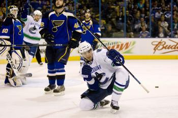 Vancouver's Alex Burrows celebrates a key goal against the St. Louis Blues. (Dilip Vishwanat/Getty Images)