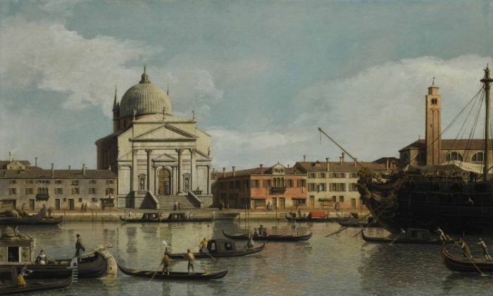 """Venetian artist Canaletto's """"Venice, a View of the Churches of the Redentore and San Giacomo, with a Moored Man-of-War, Gondolas and Barges,"""" (1747–1755) was Sotheby's top lot, fetching just under $5.7 million. (Courtesy of Sotheby's)"""