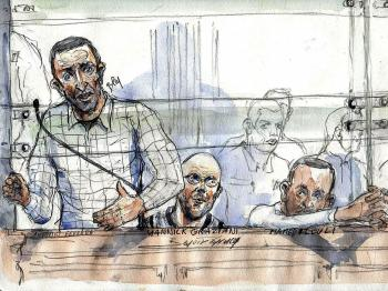 A court sketch made on November 7, 2008 at the Paris courthouse shows Italian national Antonio Ferrara (L) during his trial for his spectacular 2003 jailbreak.  (Benoit Peyrucq/AFP/Getty Images)