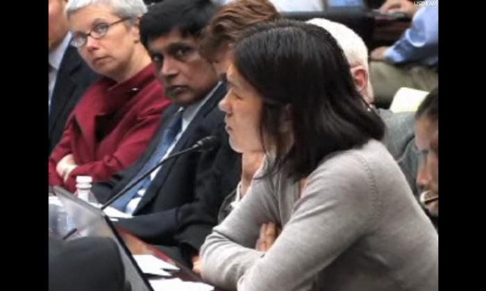 Cao Yaxue, an author and human rights advocate, addresses the emergency congressional hearing on Chen Guangcheng. Sophie Richardson (L) of Human Rights Watch and T. Kumar (center) of Amnesty International look on. (CECC)