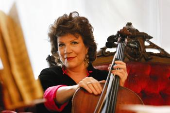 GODDESS OF THE CELLO: Christine Walevska and her beloved instrument.  (Photo by Dayin Chen)