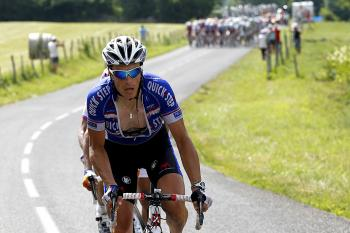 France's Sylvain Chavanel, with Christian Knees behind him, attacks the peloton at the base of the final climb of Stage Seven of the Tour de France. (Joel Saget/AFP/Getty Images)