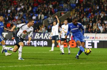Didier Drogba volleys in Chelsea' fourth goal on Saturday. (Alex Livesey/Getty Images)