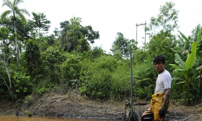 An employee with Ecuadorian oil company Petroecuador work on the clean-up of a 30-year old oil spill from an oil well operated in the state of Amazonia by Texaco, a subsidiary of Chevron. A Canadian lawyer has filed a suit in Ontario that aims to enforce a ruling by an Ecuadorean court that Chevron must pay $18.2 billion in damages. (Rodrigo Buendia/AFP/Getty Images)