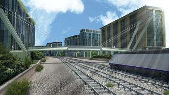 TOMORROW'S CITY: A rail and city created in Autodesk Civil Visualization Extension. Software is helping drive forward the green building movement. (Autodesk)