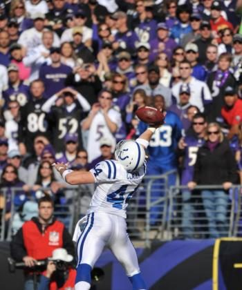 Dallas Clark hauls in Indy's first TD with a spectacular effort. (Larry French/Getty Images)