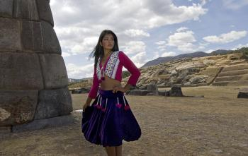 Creations by Peruvian designers during the Cusco Always in Fashion event at the archaeological site of Sacsayhuaman in Cusco, Peru, on Oct. 31. (Marco Garro/AFP/Getty Images )