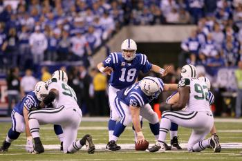JETS AT COLTS: If New York's defense can keep Peyton Manning and the Indianapolis offense in check, their own offense is capable of winning the game. (Andy Lyons/Getty Images)