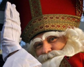 St. Nicolas arrives to celebrate the eve of St. Nicolas at the Dutch Embassy in Sofia.  (Valentina Petrova/AFP/Getty Images)