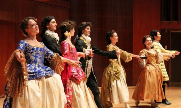 Dancers from the New York Baroque Dance Co. will give a lesson and performance of Baroque Dance. (Courtesy of New York Baroque Dance Co.)