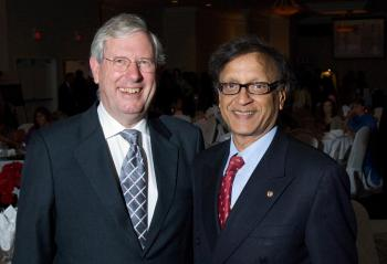 Dr. Michael Stevenson, president of Simon Fraser University, and Dr. Arun Garg, co-chair of SFU's India Advisory Council, at the SFU Diwali Gala. Through its India Country Strategy, SFU is forming groundbreaking collaborations with Indian institutions.  (Greg Ehlers)