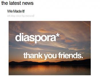 Screenshot from JoinDiaspora.com (http://www.joindiaspora.com/)