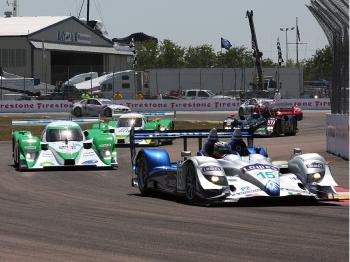 The Lowes/Fernandez Acura finished ahead of the two Dyson Mazda-Lolas.  (Jeff Yeh/The Epoch Times)