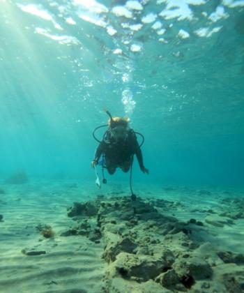 A diver swims above one of the newly discovered walls in Pavlopetri. (Courtesy of the University of Nottingham, U.K.)