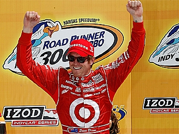 Scott Dixon celebrates winning the Indy Car Series Road Runner Turbo Indy 300 at Kansas Speedway in Kansas City, Kansas. (Jonathan Ferrey/Getty Images)