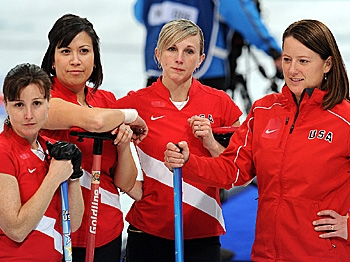 United States players (L-R) Debbie McCormick, Nicole Joraanstad, Natalie Nicholson and Allison Pottinger looks dejected at the end of the match against Sweden in women's curling competition at the 2010 Winter Olympics. (Saeed Khan/AFP/Getty Images)