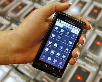 Motorola's new Droid smart phone sold through Verizon. (George Frey/Getty Images)