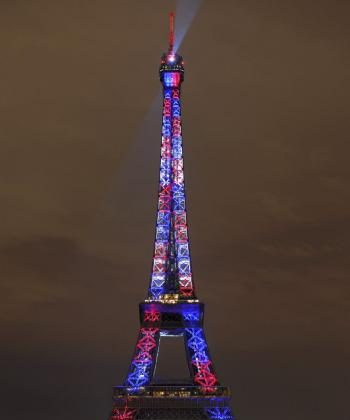 The illumination of the Eiffel Tower using more than 400 LED high tech projectors. (Bertrand Guay/AFP/Getty Images)